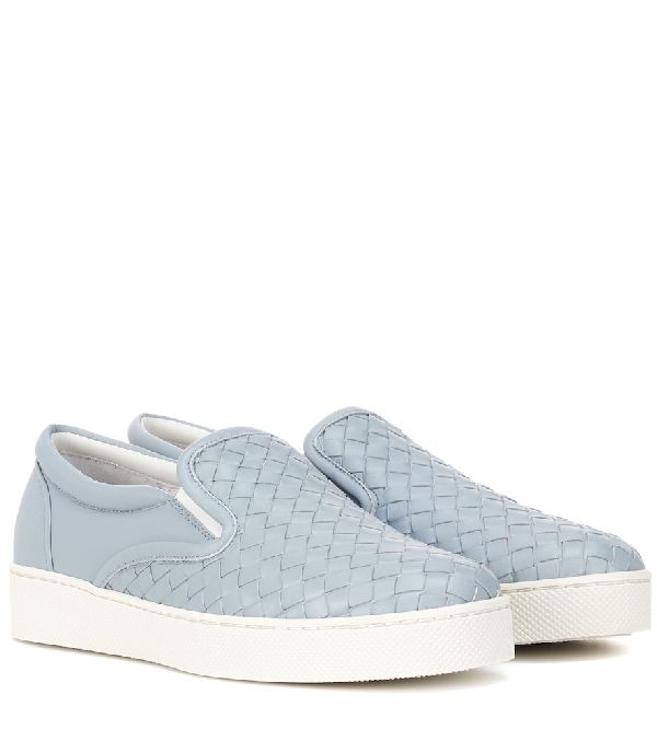 Bottega Veneta Intrecciato Leather Slip-on Sneakers In Blue