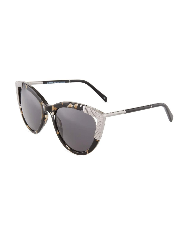 b8812b2c78ae Balmain Tortoise Acetate Metal Cat-Eye Sunglasses In Black Pattern ...