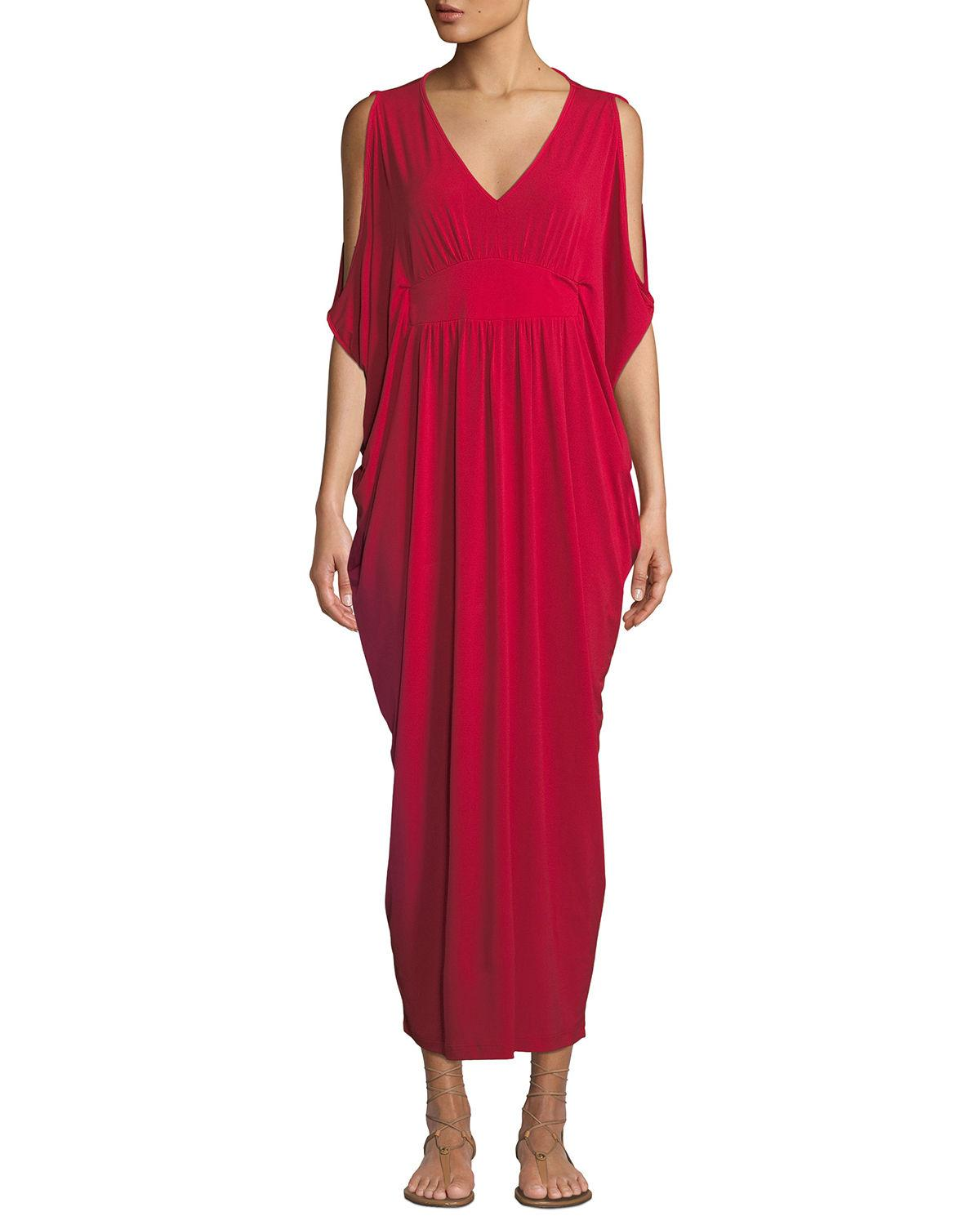 6b4e025bf3a6 Melissa Masse Cold-Shoulder Cape-Sleeve V-Neck Maxi Dress In Red ...