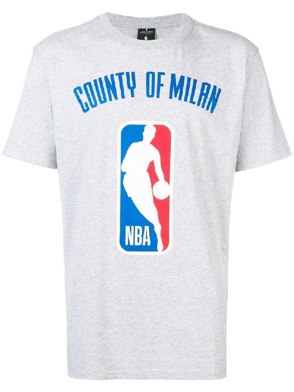1e6559893 Marcelo Burlon County Of Milan Nba Logo Print T-Shirt In Grey