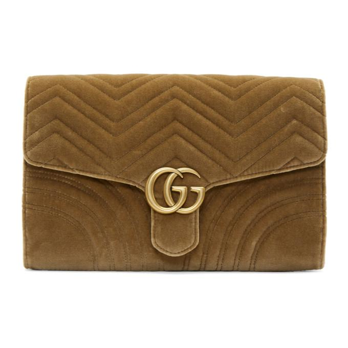 Gucci Brown Velvet Gg Marmont 2.0 Clutch In 2807 Taupe