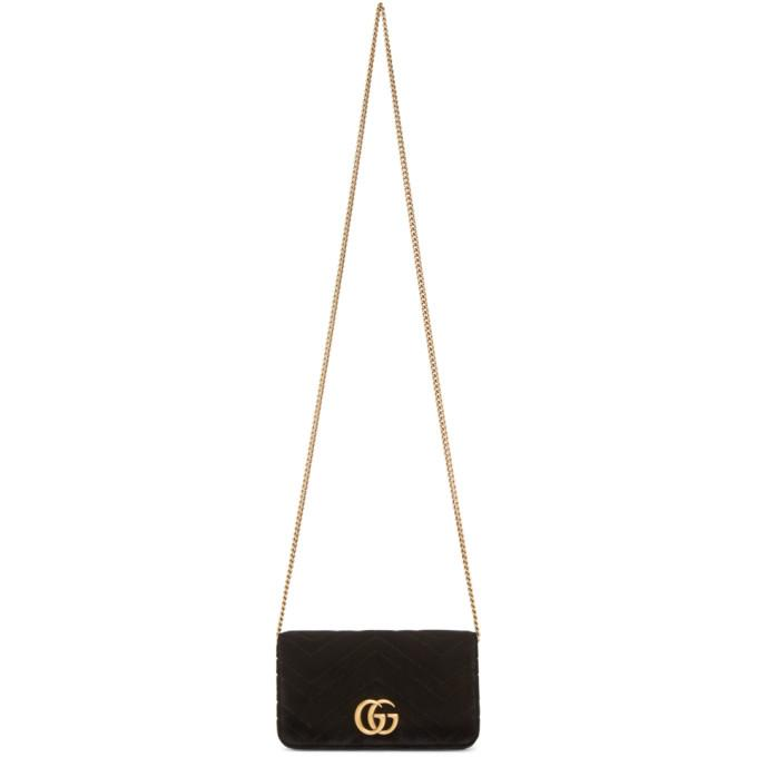 88a9aa77472 Gucci Black Velvet Gg Marmont 2.0 Bag In 1000 Black