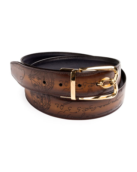 d479f708daf Berluti Men s Reversible Scritto Leather Belt With B Logo Buckle In ...