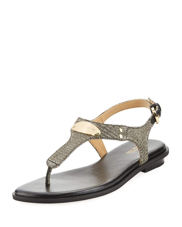 9b87e9ad1ecb Michael Michael Kors Mk Plate Metallic Thong Sandals In Black Silver ...