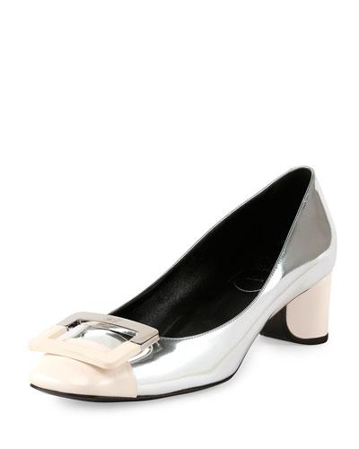 Roger Vivier Decollette U-Cut Low-Heel Pump, Silver/White
