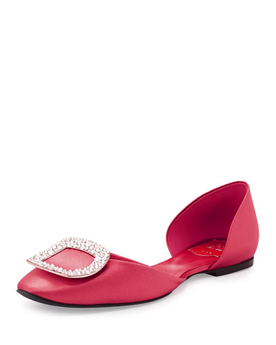 Roger Vivier 10Mm Chips Swarovski Satin D'Orsay Flats, Strawberry In Old Pink
