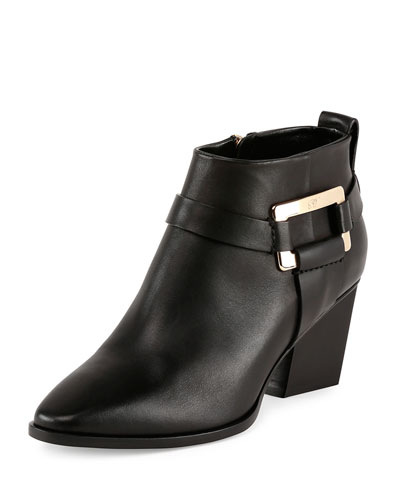 Roger Vivier Skyscraper Buckle Ankle Boots In Leather In Black
