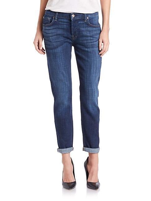 7 For All Mankind Josefina Cropped Boyfriend Jeans In Royal Broken Twill
