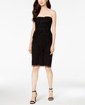 Adrianna Papell Beaded Strapless Sheath Dress In Black