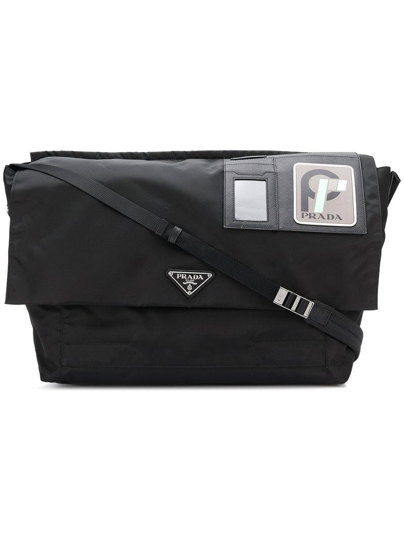 3488a1d2147f7b Prada Logo Patch Shoulder Bag - Black | ModeSens