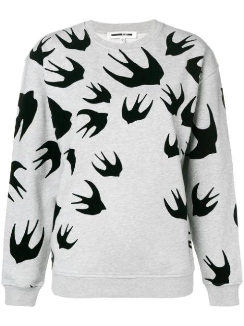 Mcq By Alexander Mcqueen Swallow Print Sweatshirt In Grey