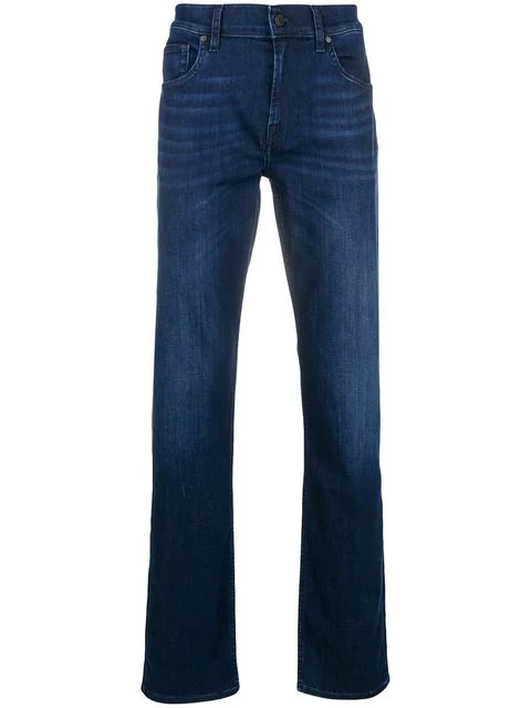 7 For All Mankind Luxe Performance Straight Leg Jeans In Blue