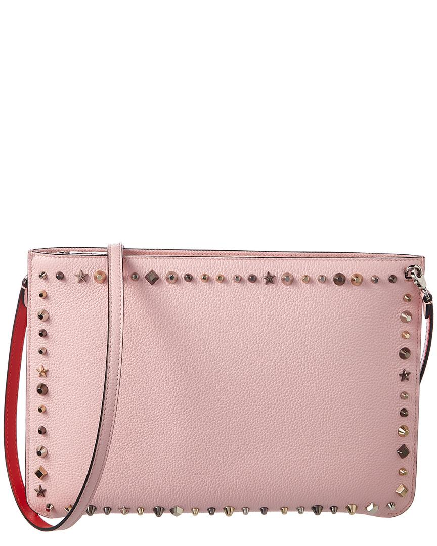 98e6b338bc8 Loubiclutch Spiked Leather Clutch in Pink