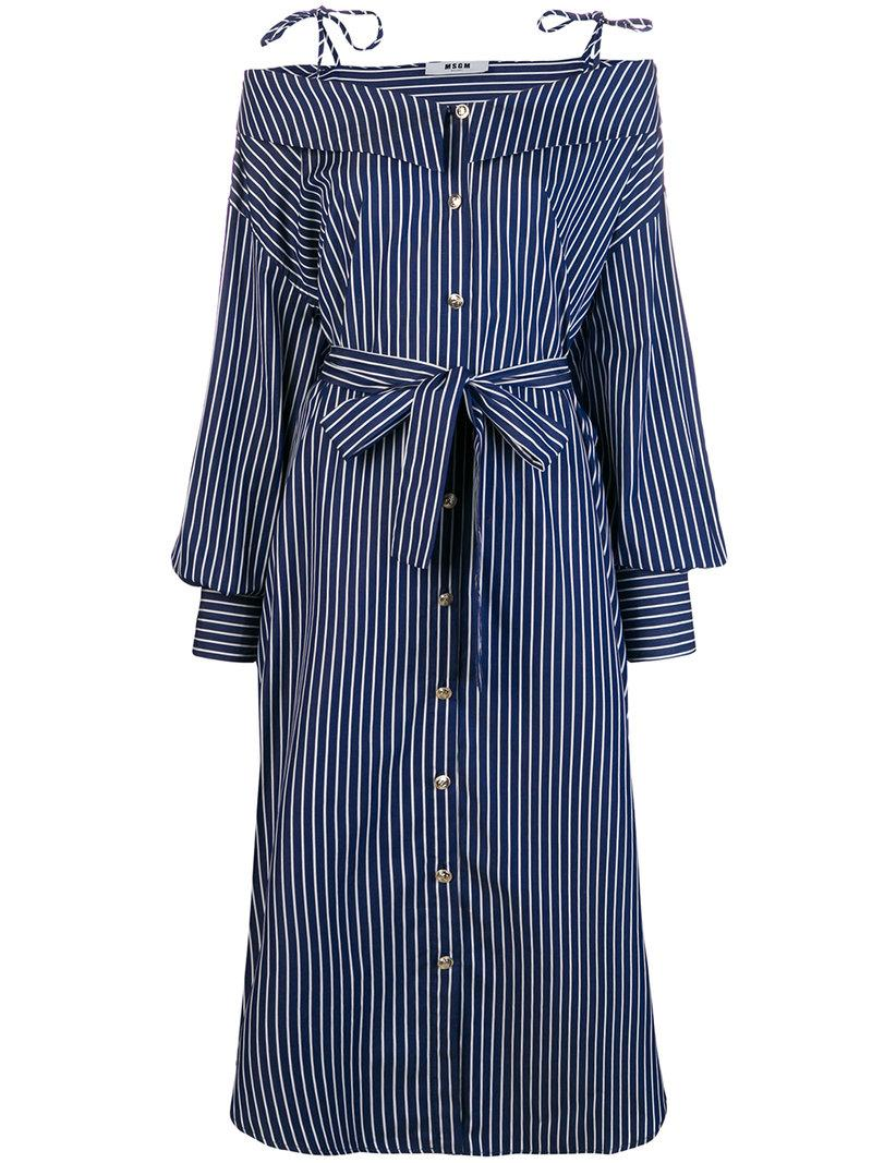 855550c89db Msgm Striped Off Shoulder Shirt Dress - Blue