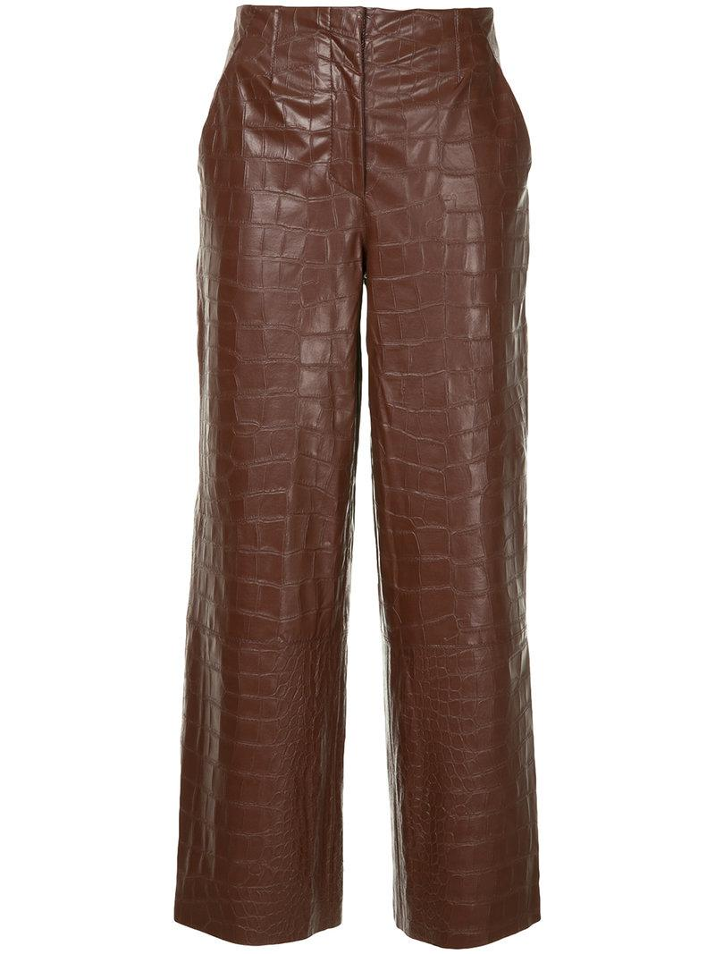 3c8eb1bc7a90c Nanushka Crocodile Embossed Faux Leather Trousers - Brown