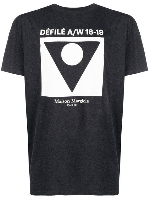Maison Margiela Printed Cotton-jersey T-shirt In Grey