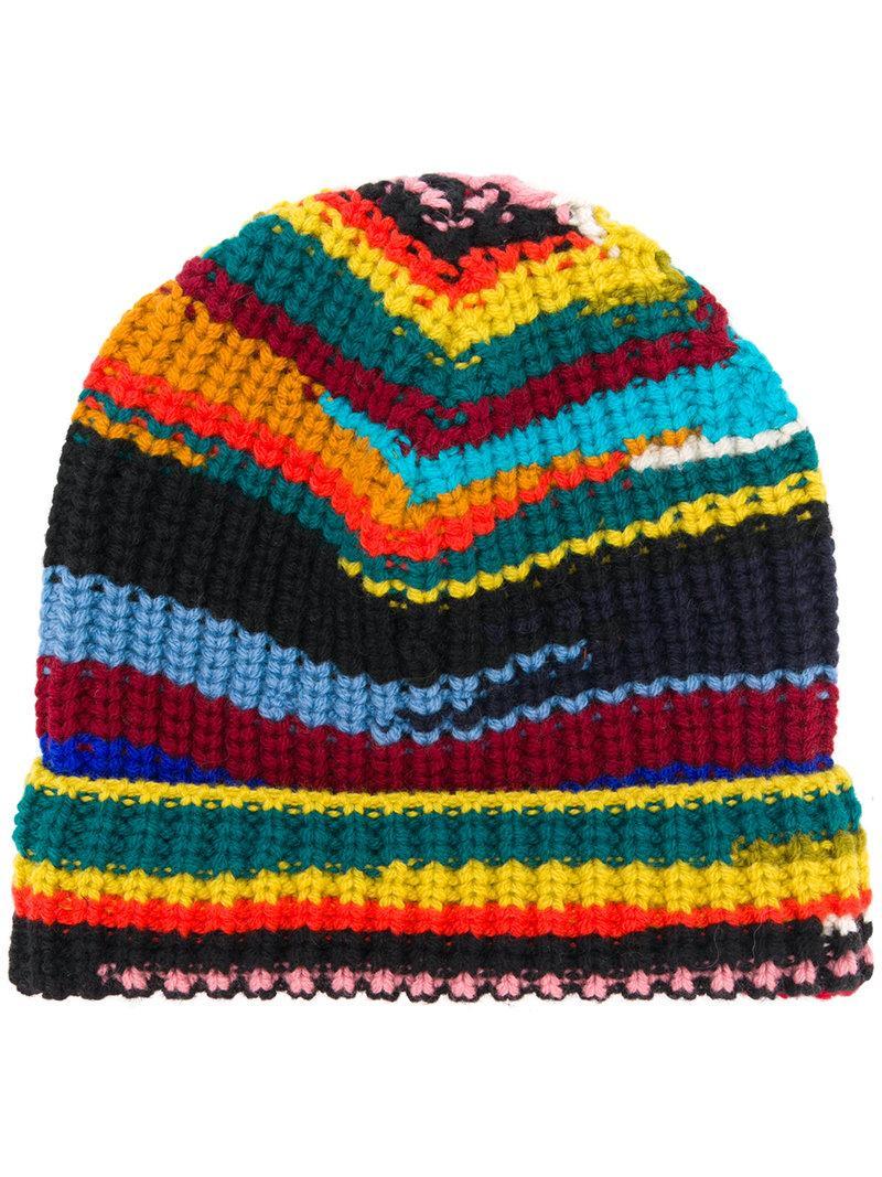 0e61ce073fa Missoni Striped Rib Knit Beanie In Red