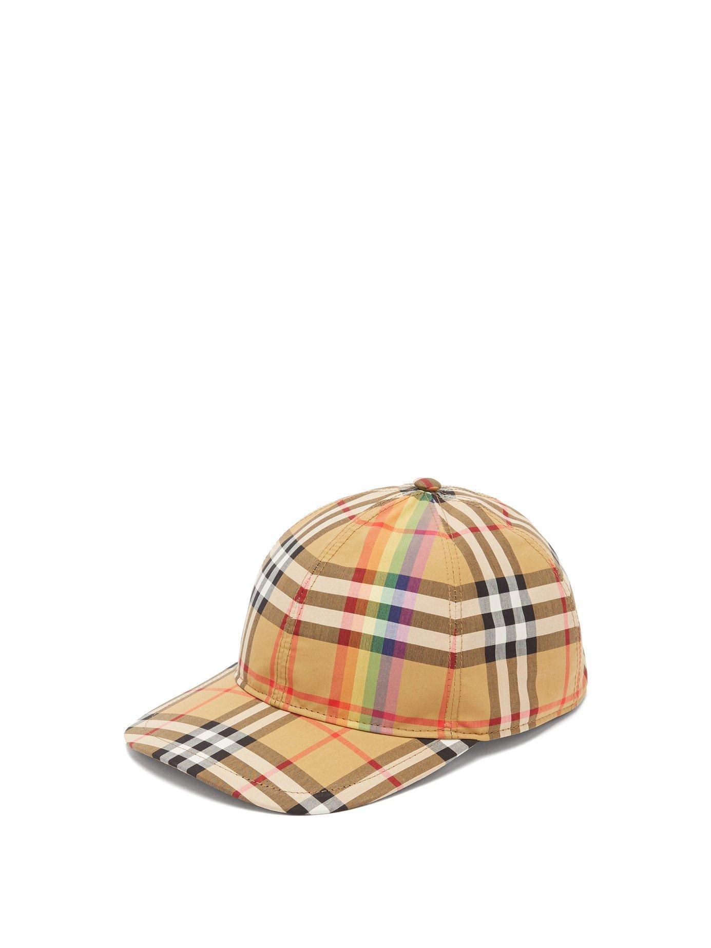 193716ba8d555 Burberry Rainbow Stripe Vintage Check Baseball Cap In Brown