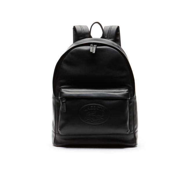 7c99dc77551 Lacoste Men's L.12.12 Casual Embossed Lettering Leather Backpack In Black