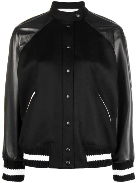 Valentino Leather And AppliquÉd Wool-blend Bomber Jacket In Black