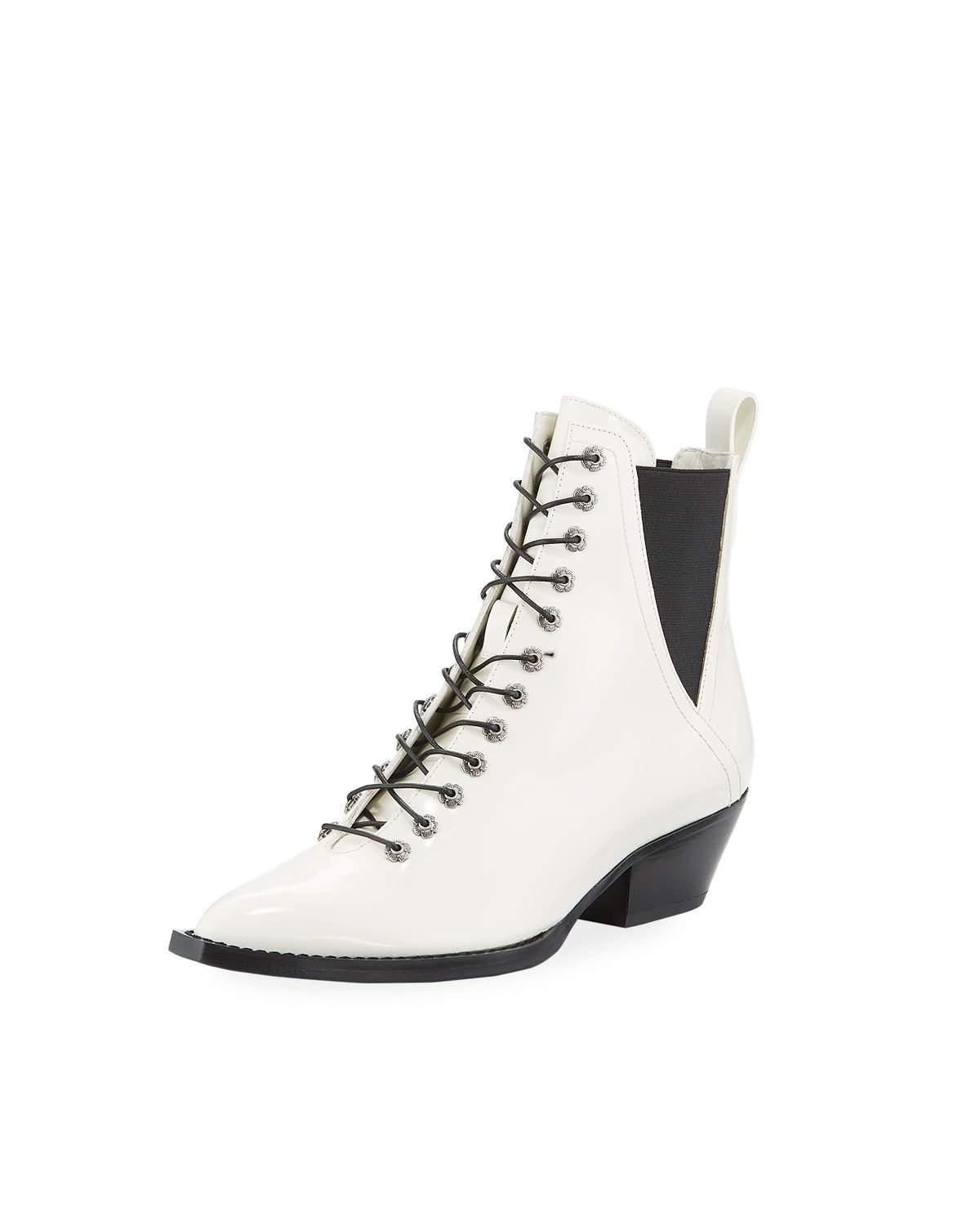 ac78b7ba17 Spazzolato Leather Lace-Up Booties in Ivory