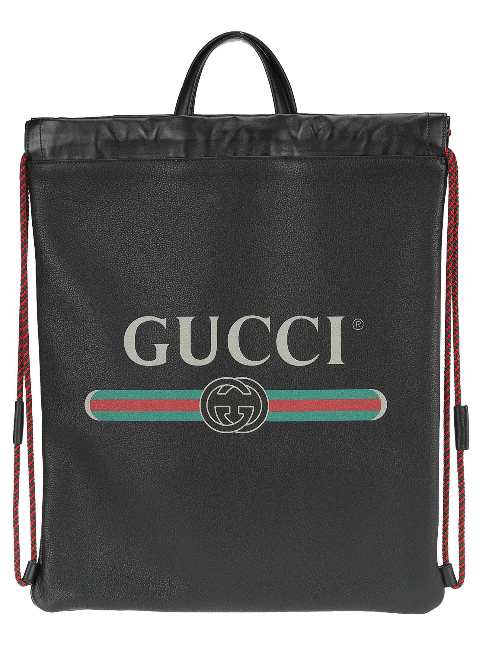 268bf266343 Gucci Leather Zaino Drawstring Backpack In Green