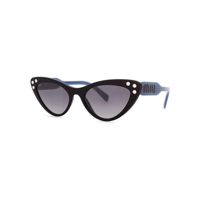 3f4994c505 Miu Miu Black Embellished Cat-Eye Sunglasses. Harvey Nichols