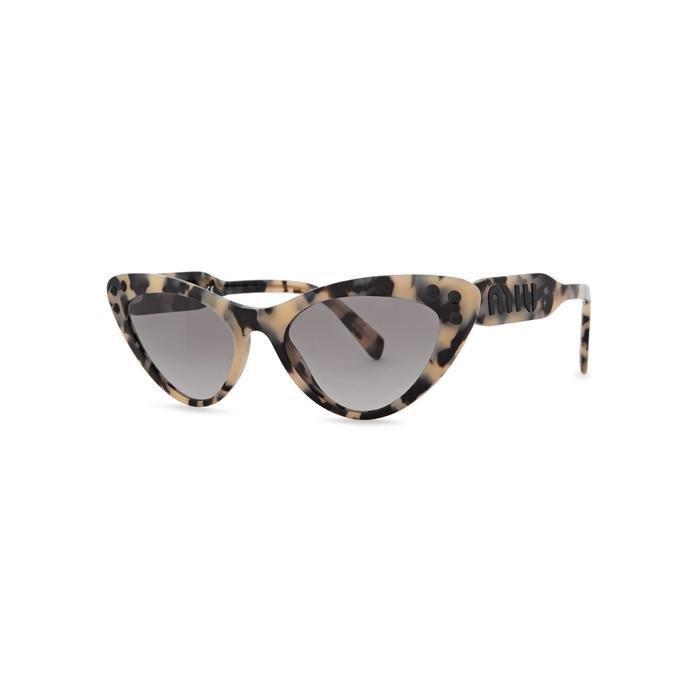 8d594b826aa Miu Miu Tortoiseshell Embellished Cat-Eye Sunglasses In Havana ...