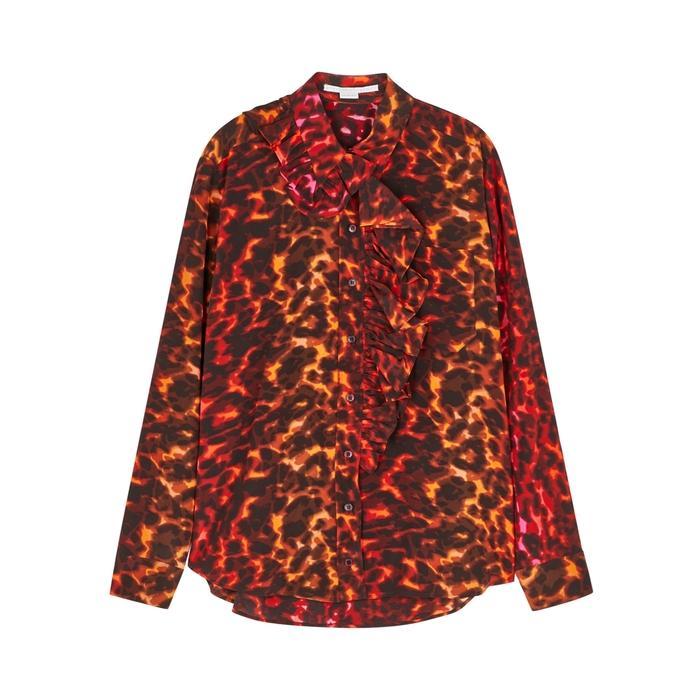 9f3b232155cc0 Stella Mccartney Samantha Leopard-Print Silk Shirt In Red | ModeSens