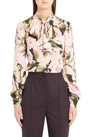 3e38efdc1cdffc Dolce   Gabbana Floral-Print Silk-Charmeuse Pussy-Bow Blouse In Light-