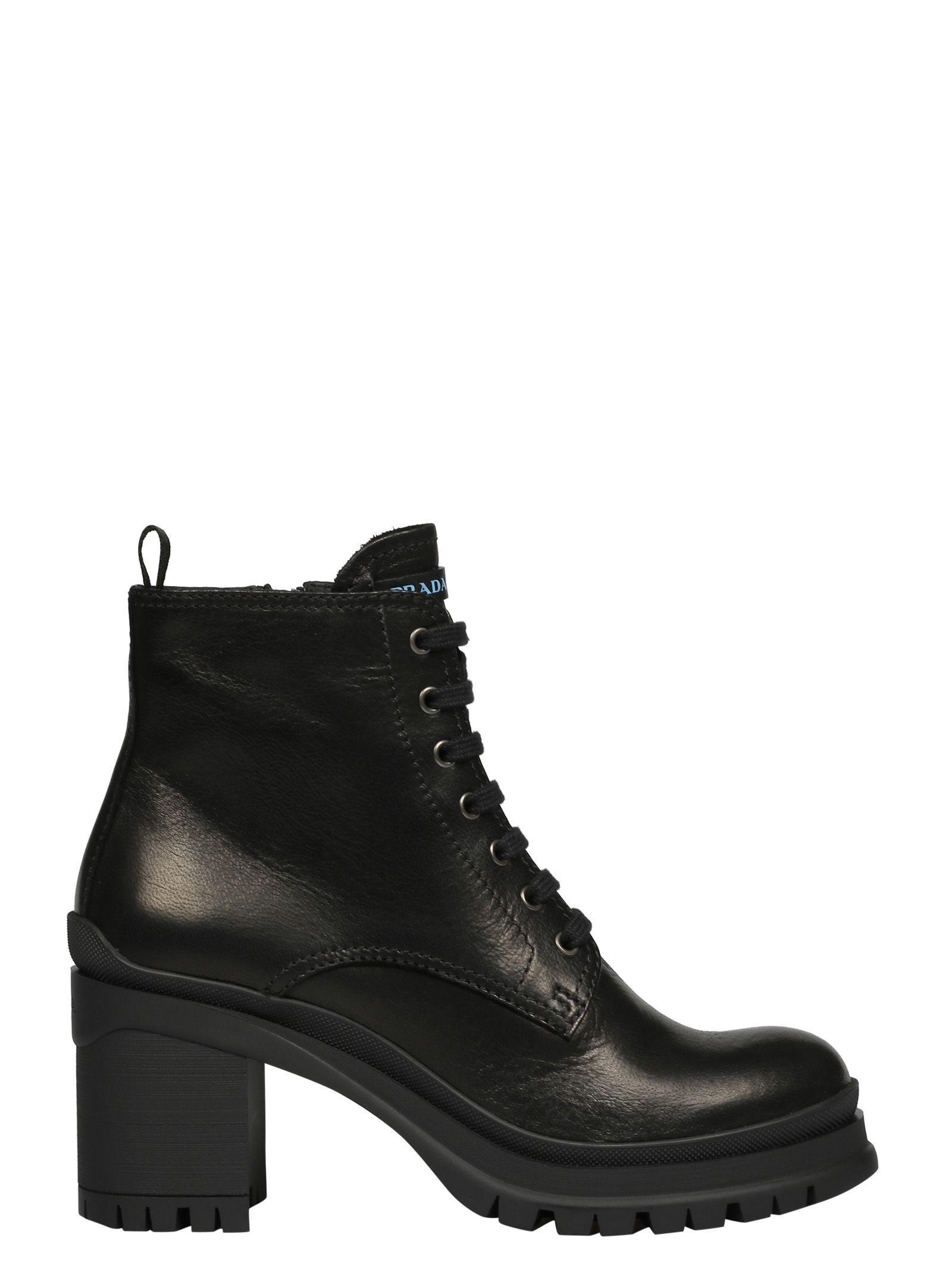 b4932c66c5 Prada Block Heel Lace-Up Boots In Black | ModeSens