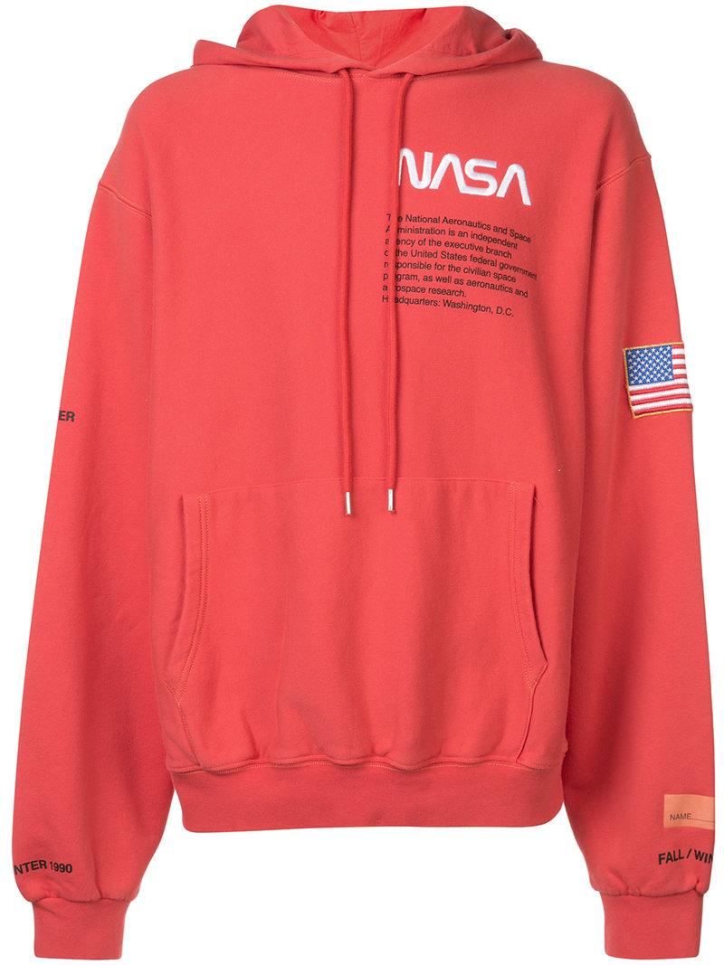 b3e2eaed2c0f Heron Preston + Nasa Embroidered Printed Cotton-Jersey Hoodie - Red ...