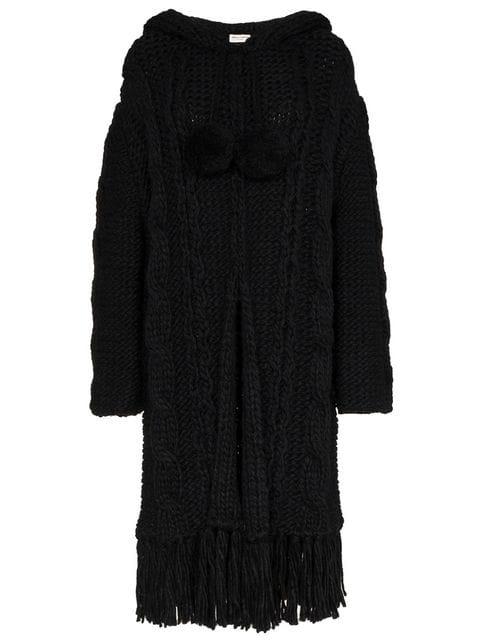 Saint Laurent Cable Knit Cardigan Coat In Black
