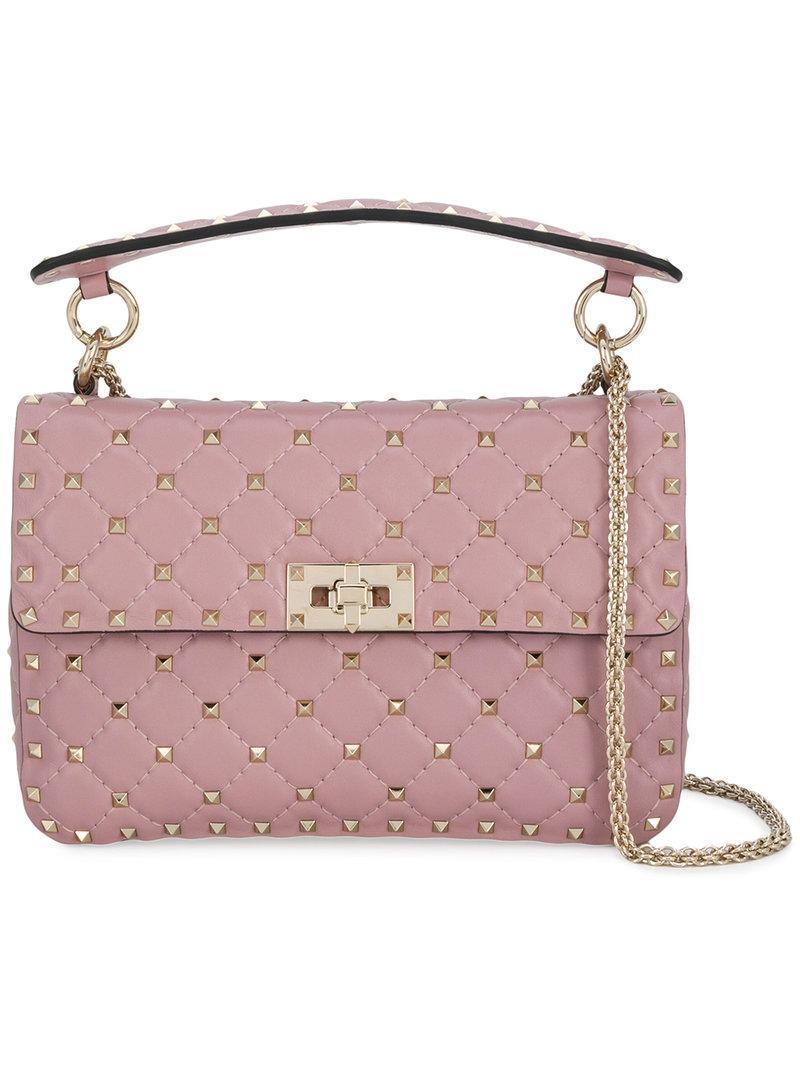 Valentino Medium Garavani Rockstud Spike Shoulder Bag - Pink  37ba37ae1a102