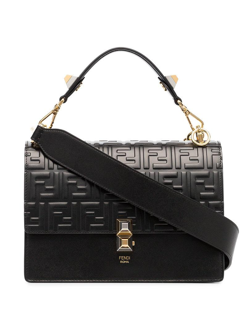 2f10747333 Fendi Black Kan I Double F Leather Shoulder Bag