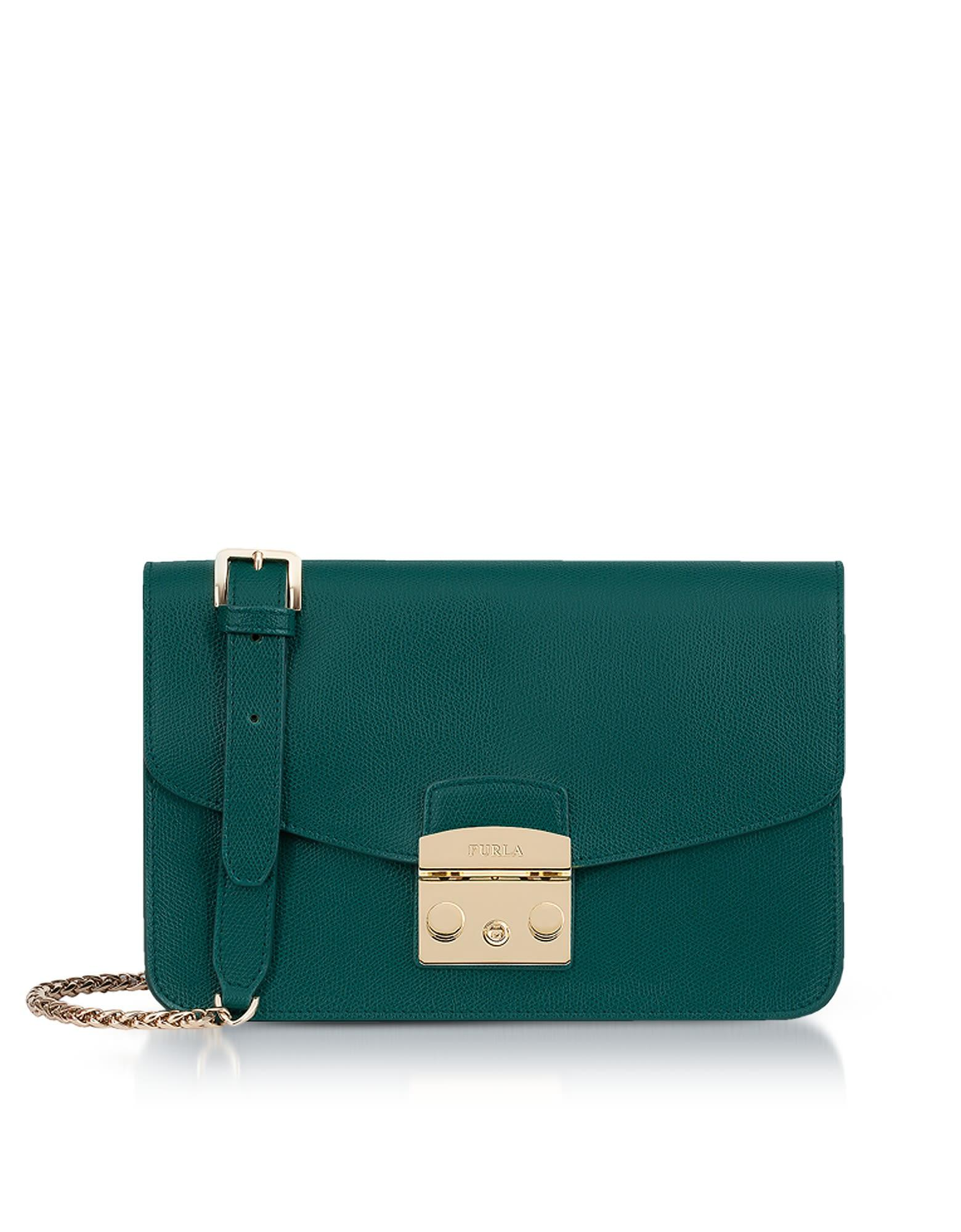 0dd7028e5208 Furla Genuine Leather Metropolis Small Shoulder Bag In Forest Green ...