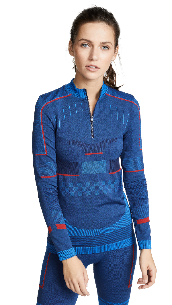 c3f6b1d6 Adidas By Stella Mccartney Training Seamless Long-Sleeve Performance Top,  Blue/Red In