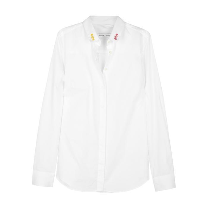 fe49ad477b9 Maison Labiche Claudine Bonbon Embroidered Cotton Shirt In White ...