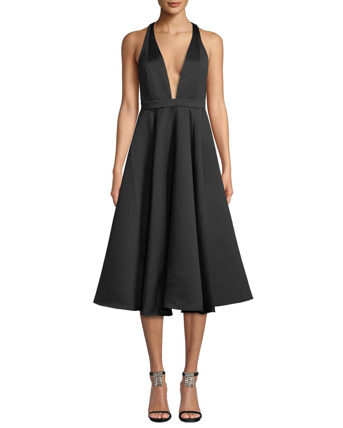 a1b0b9fe443 Jay Godfrey Sewelyn Plunge-Neck Fit-And-Flare Dress In Black