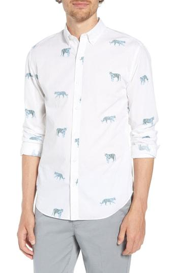 09f08ac3545 Bonobos Summerweight Slim Fit Tiger Print Sport Shirt In Le Tigre Ii - Airy  Blue