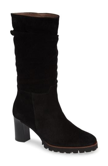 Wonders Slouchy Block Heel Boot In Black Suede