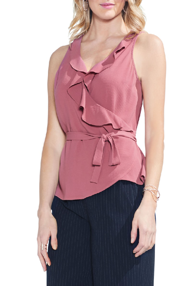 878eb072e32684 Vince Camuto Wrap Front Ruffle Neck Blouse In Rouge Blush   ModeSens