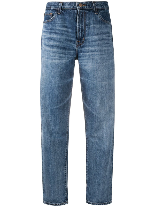 J Brand Mid Rise Straight Leg Jeans In Blue