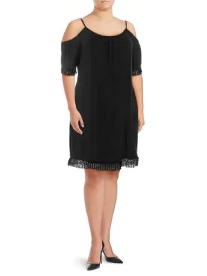 Abs By Allen Schwartz Plus Lace-Trimmed Cold-Shoulder Dress In Black