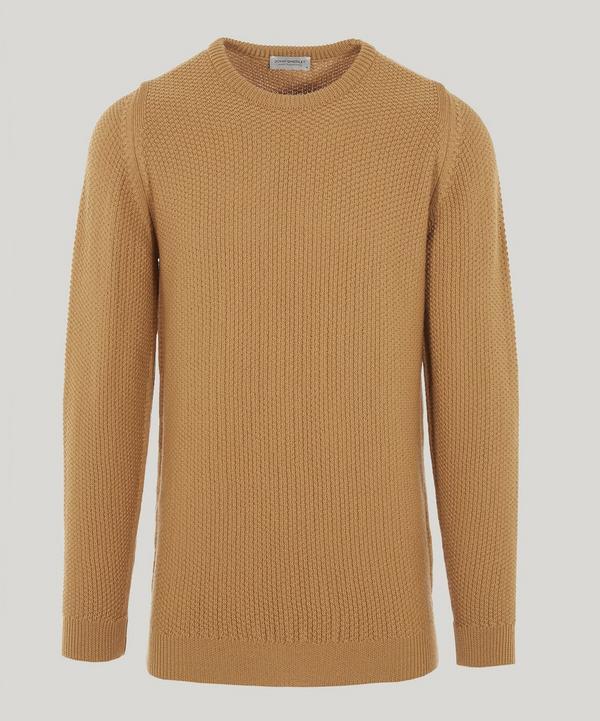 John Smedley Textured Wool Knit Jumper In Brown