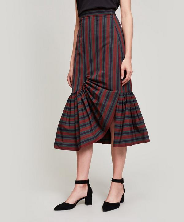 Rosetta Getty Ruffle Hem Striped Pencil Skirt In Assorted