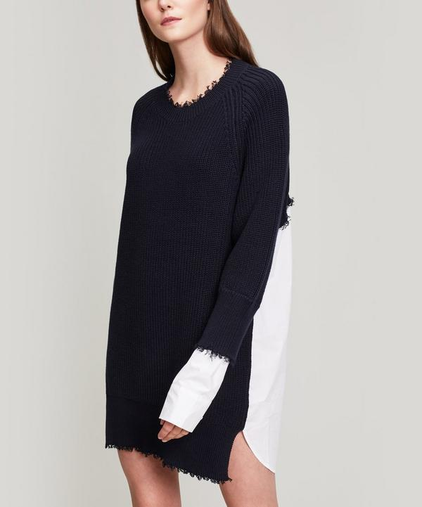 71835a3430 T By Alexander Wang Hybrid Meets Varsity Sweater Dress In Navy ...