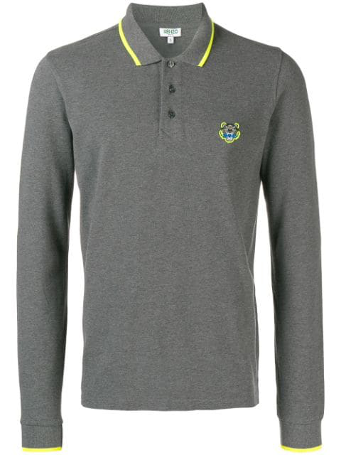 Kenzo Mini Tiger Polo Shirt In Grey