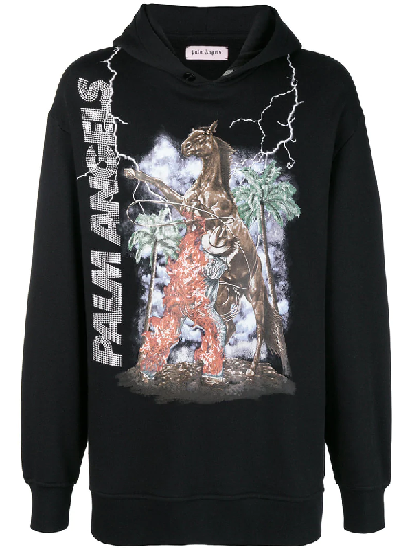 490dc2d8 Palm Angels Burning Cowboy Hooded Sweatshirt In Black | ModeSens