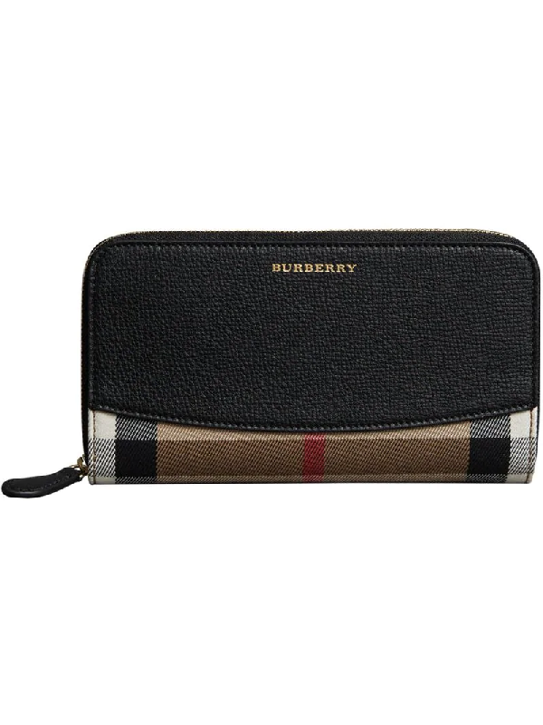 Burberry Elmore Check And Leather Zip-Around Wallet In Black